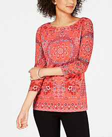 Charter Club Scarf-Print Knit Top, Created for Macy's