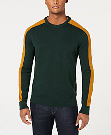 Sean John Men's Crew Neck Contrast Stripe Sweater