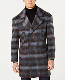 I.N.C. Men's Grunge Plaid Topcoat, Created for Macy's