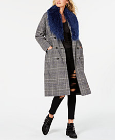 GUESS Nieve Faux-Fur Collar Plaid Coat
