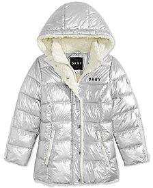 DKNY Big Girls Hooded Puffer Jacket With Faux-Sherpa Trim