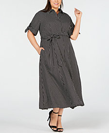 Calvin Klein Plus Size Polka-Dot Maxi Shirt Dress
