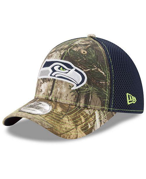 71157f7ce4040 ... New Era Seattle Seahawks Realtree Camo Team Color Neo 39THIRTY Cap ...