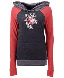 5th & Ocean Women's Wisconsin Badgers Big Logo Raglan Hooded Sweatshirt