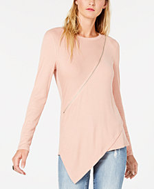 Bar III Asymmetrical Zipper Top, Created for Macy's