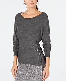 I.N.C. Scoop-Neck Lace-Up Sweater, Created for Macy's