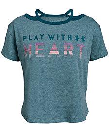 Under Armour Big Girls Heart-Print Cutout T-Shirt