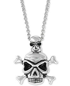 "EFFY® Men's Skull Pendant Necklace, 20"" + 2"" extender in Sterling Silver"