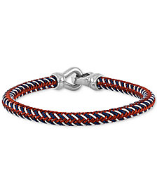 Esquire Men's Jewelry Woven Bracelet in Matte Ion-Plated Stainless Steel, Created for Macy's