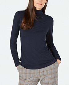 Long-Sleeve Ruched Turtleneck Top, Created for Macy's