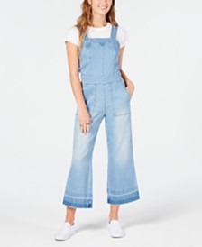 Dollhouse Juniors' Cropped Wide-Leg Denim Overalls