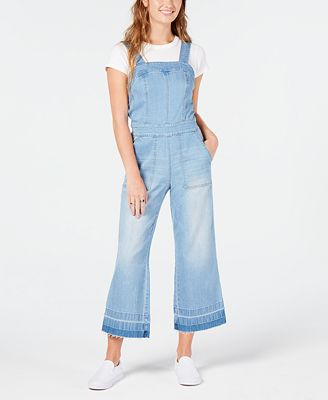 Dollhouse Juniors Cropped Wide Leg Denim Overalls Jeans Juniors