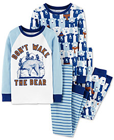Carter's Little & Big Boys 4-Pc. Don't Wake The Bear Cotton Pajama Set