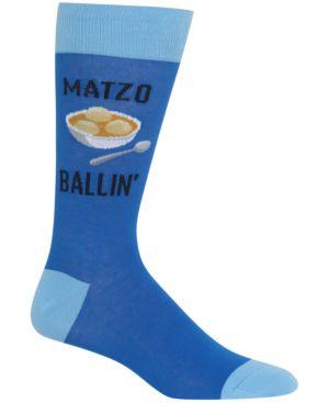 HOT SOX Men'S Printed Crew Socks in Blue