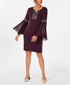 JM Collection Petite Beaded Bell-Sleeve Dress, Created for Macy's