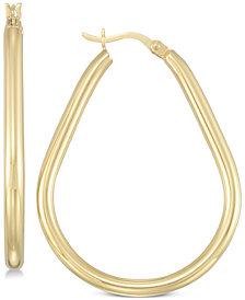 Simone I. Smith Ridged Teardrop Hoop Earrings in 18k Gold over Sterling Silver