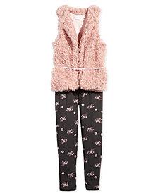 Beautees Big Girls 2-Pc. Faux-Fur Vest & Floral-Print Leggings Set
