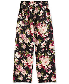 Monteau Big Girls Floral-Print Paper Bag Pants