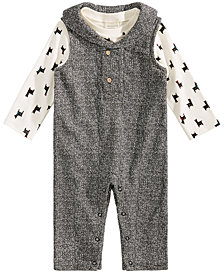 First Impressions Baby Boys 2-Pc. Llama-Print T-Shirt & Shawl-Neck Overall Set, Created for Macy's
