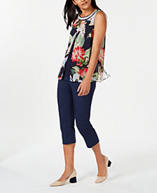 JM Collection Split-Front Blouse & Embellished Pull-On Capri Pants, Created for Macy's