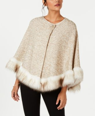 Faux-Fur Trim Poncho, Created for Macy's