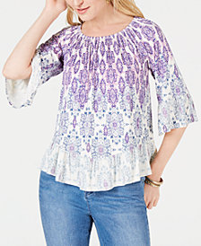 Style & Co Petite Floral-Print Off-The-Shoulder Top, Created for Macy's