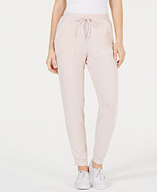 Hippie Rose Juniors' Velour-Trim Jogger Pants