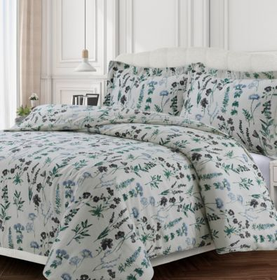 Tribeca Living Fleur Cotton Flannel Printed Oversized King Duvet Set