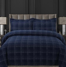 Oxford Plaid Cotton Flannel Printed Oversized Queen Duvet Set