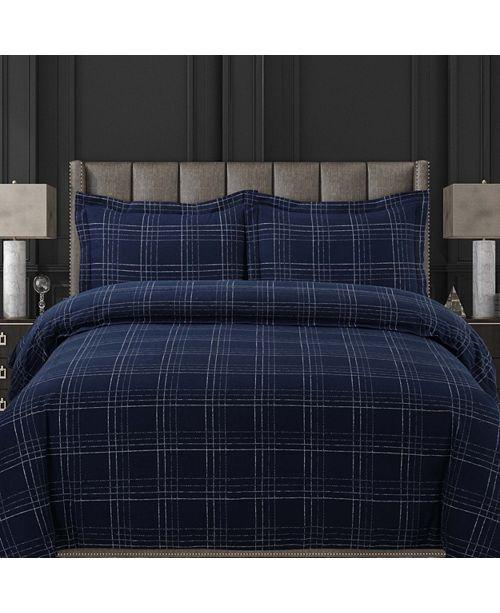 Tribeca Living Oxford Plaid Cotton Flannel Printed Oversized Queen Duvet Set