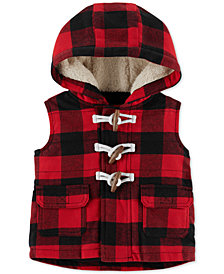 Carter's Baby Boys Hooded Buffalo-Check Toggle Vest