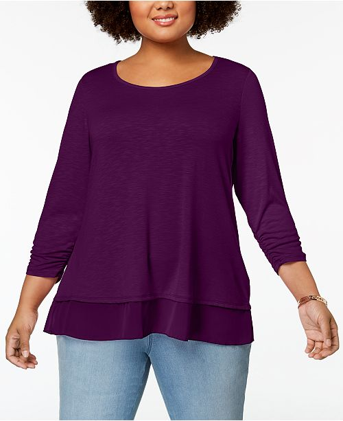 Plus Size Chiffon-Hem Top, Created for Macy's