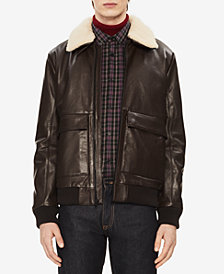 Calvin Klein Men's Leather Jacket with Sherpa Trim