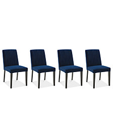 Elinor Velvet Channel Back Chair, 4-Pc. Set (4 Sapphire Chairs)