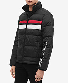 Calvin Klein Mens Striped Puffer Jacket