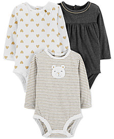 Carter's Baby Girls 3-Pk. Long-Sleeve Bodysuits