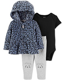 Carter's Baby Girls 3-Pc. Fleece Peplum Hoodie, Bodysuit & Cat Leggings Set