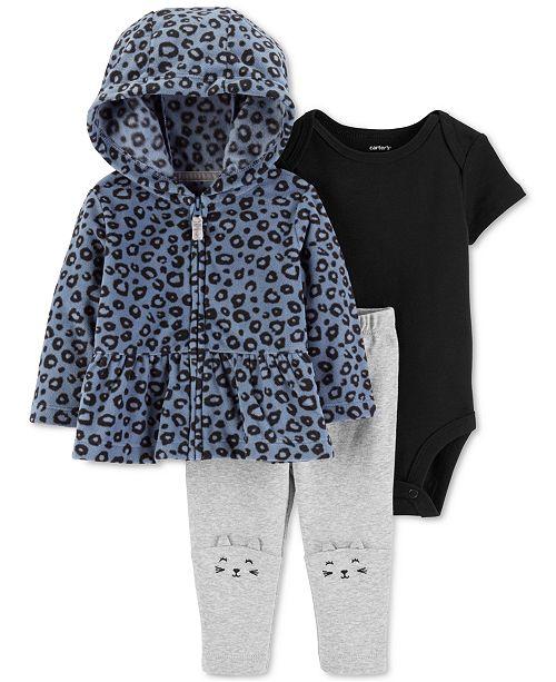 d4d740a9b91954 Carter's Baby Girls 3-Pc. Fleece Peplum Hoodie, Bodysuit & Cat Leggings Set