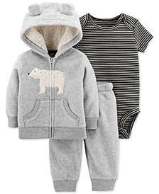 Carter's Baby Boys 3-Pc. Bear Hoodie, Striped Bodysuit & Pants Set