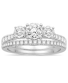 Diamond Bridal Three Stone Ring Set (3/4 ct. t.w.) in 14k White Gold