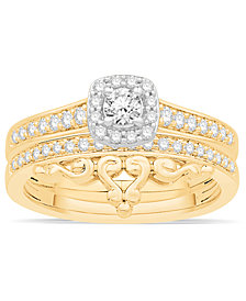 Diamond Two-Tone Halo Bridal Set (1/2 ct. t.w.) in 14k Gold and White Gold