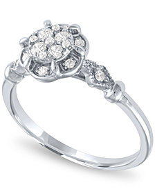 Diamond Cluster Ring ( 1/4ct. t.w.) in 14k White Gold