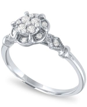 Diamond Cluster Ring ( 1/4ct. t.w.) in 14k White Gold -  Macy's