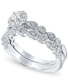 Diamond Halo Bridal Set (1/3 ct. t.w.) in 14k White Gold