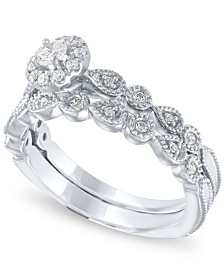 Diamond Halo Bridal Set (1/3 ct. t.w.) in 14k White Gold