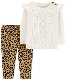 Carter's Baby Girls 2-Pc. Sweater & Fleece Leggings Set
