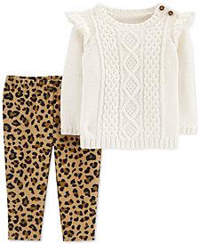 Carter's Baby Girls 2-Pc. Sweater & Fleece Leggings Set