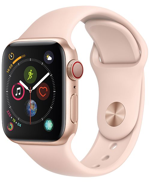 Apple Watch Series 4 AppleWatch Series4 GPS+Cellular, 40mm Gold Aluminum Case with Pink Sand Sport Band