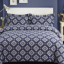Damask Cotton Flannel Printed Oversized Queen Duvet Set