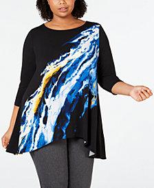 Alfani Plus Printed High-Low Tunic, Created for Macy's